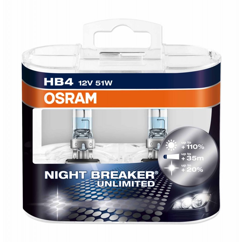 Автолампа OSRAM HB4 9006 NIGHT BREAKER Unlimited +110% 3400k 51w 12v 9006NBU-HCB