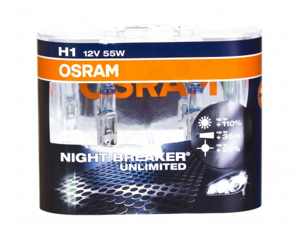 Автолампа OSRAM H1 Night Breaker Unlimited +110% 3400k 55w 12v 64150NBU-HCB